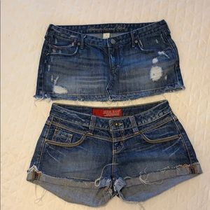 Guess shorts/ Abercrombie and Fitch mini skirt